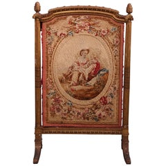 Antique French Giltwood and Pictorial Needlepoint Screen, circa 1850