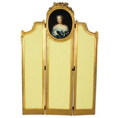 Antique French Giltwood Dressing Screen with Oil Painting Portrait, 19th Century