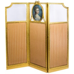Antique French Giltwood Dressing Screen with Pastel Portrait 19th Century