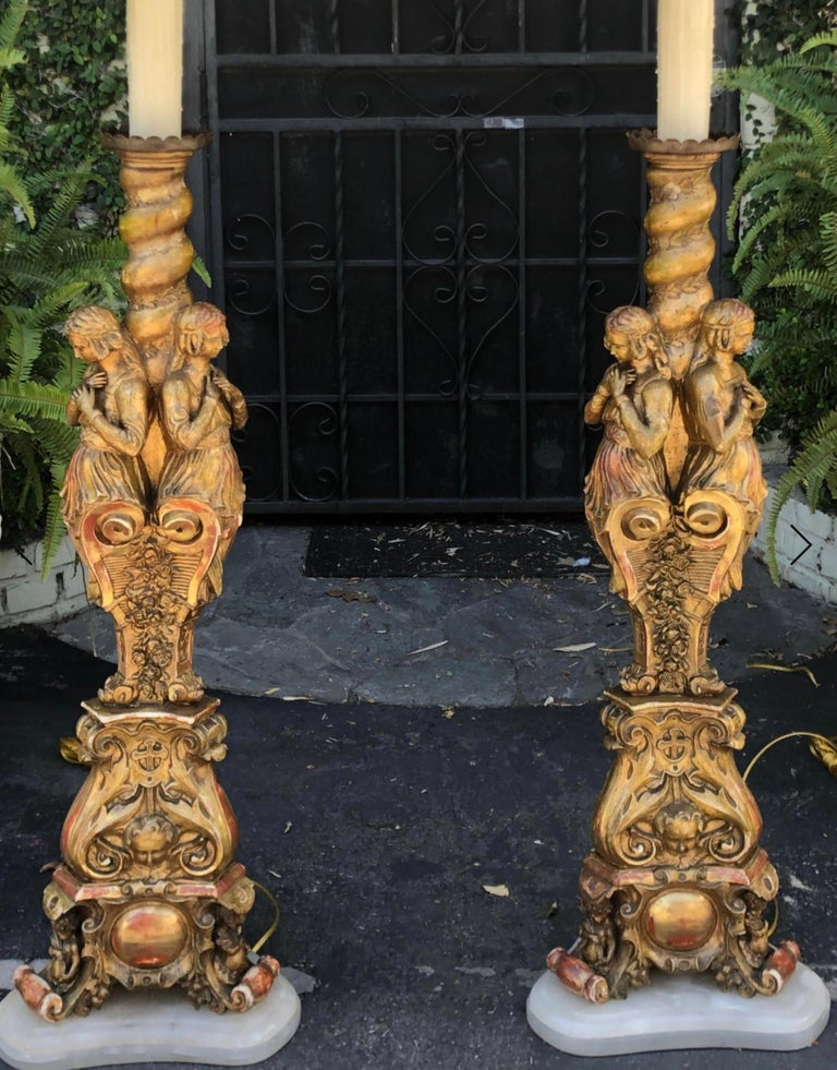 19th Century Antique French Giltwood Figural Cathedral Floor Lamps, a Pair For Sale