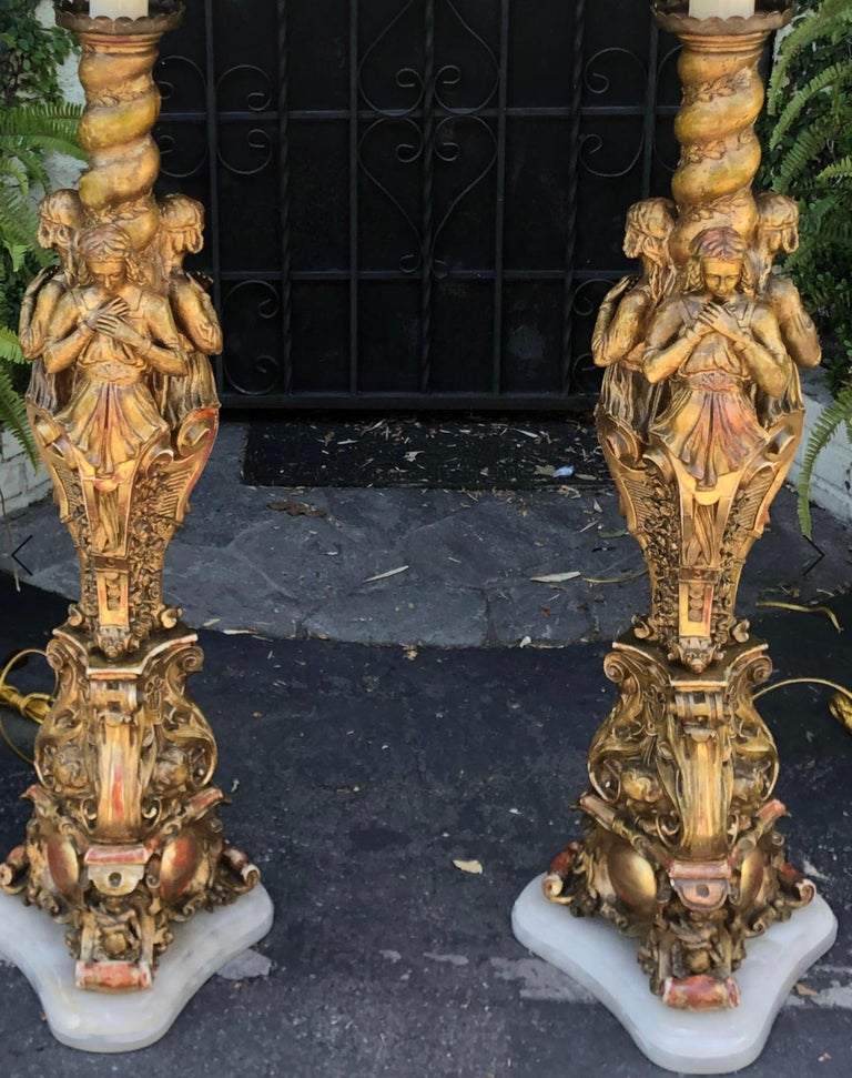 Marble Antique French Giltwood Figural Cathedral Floor Lamps, a Pair For Sale