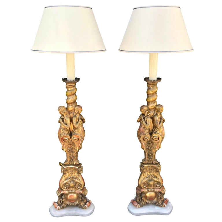 Antique French Giltwood Figural Cathedral Floor Lamps, a Pair For Sale