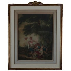 Antique French Giltwood Framed Classical Romantic Print, 20th Century
