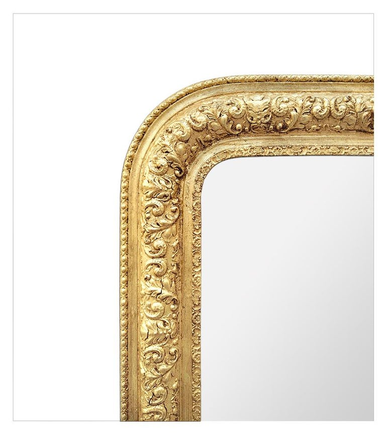Antique French Giltwood Mirror Louis-Philippe Style, circa 1900 In Good Condition For Sale In Paris, FR