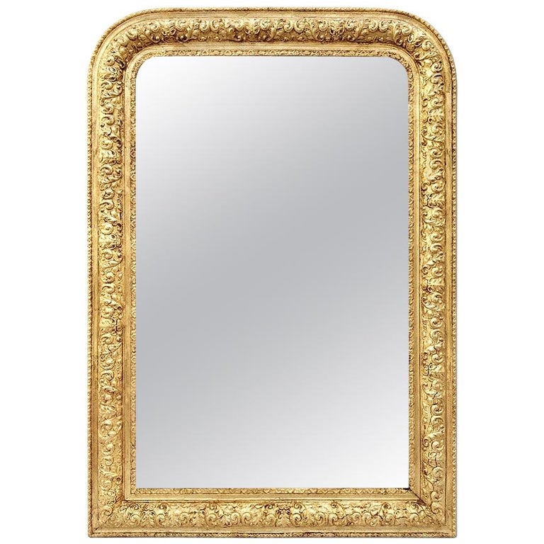 Antique French Giltwood Mirror Louis-Philippe Style, circa 1900 For Sale