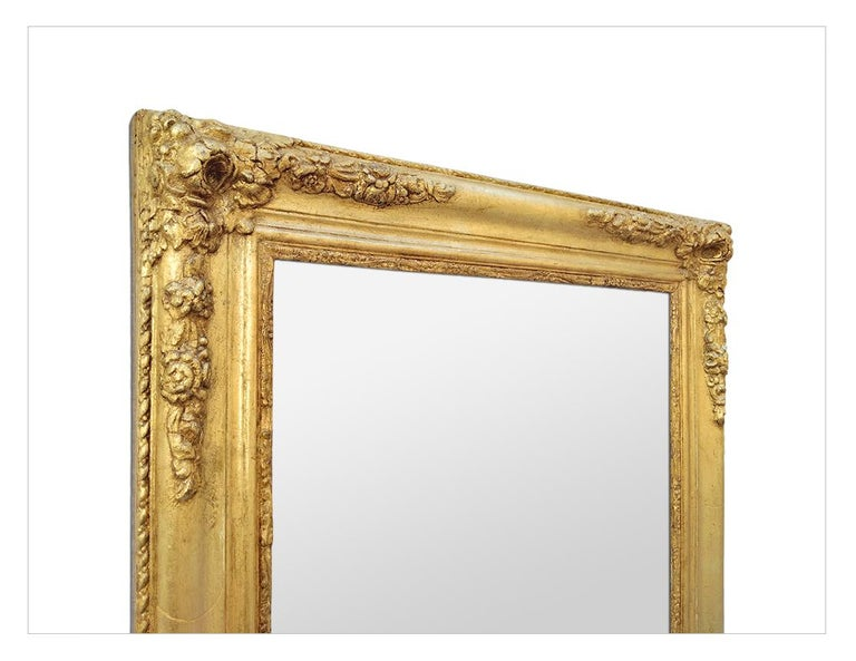 Mid-19th Century Antique French Giltwood Mirror, Romantic Style, circa 1840 For Sale