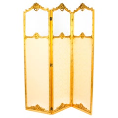 Antique French Giltwood Three Fold Dressing Screen, 19th Century