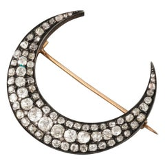 Antique French Gold and Diamonds Crescent