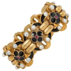 Antique French Gold and Enamel Bracelet with Ruby and Pearl Accents