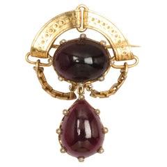 Antique Victorian Gold and Garnet Brooch