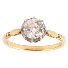 Antique French Gold and Silver Old Cut Diamond Ring