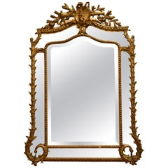 Antique French Gold Bevelled Mirror