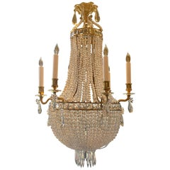 Antique French Gold Bronze and Baccarat Beaded Chandelier, circa 1890s