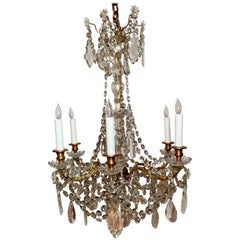 Antique French Gold Bronze and Baccarat Crystal Six Light Chandelier, Circa 1890