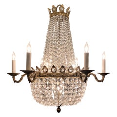 Antique French Gold Bronze and Crystal Chandelier, circa 1900