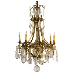 Antique French Gold Bronze and Fine Crystal Chandelier, circa 1890-1900