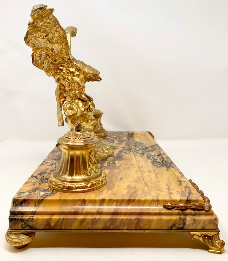 Antique French Gold Bronze and Marble Eagle Inkstand, Circa 1880-1890 In Good Condition For Sale In New Orleans, LA