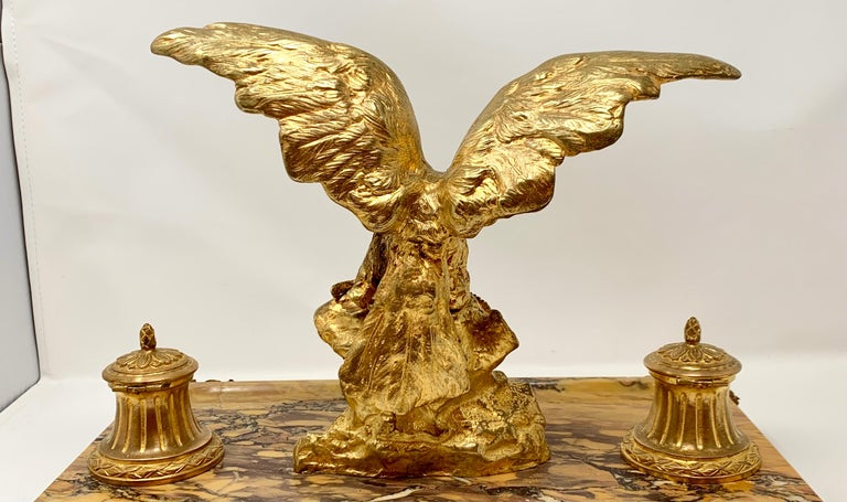 Late 19th Century Antique French Gold Bronze and Marble Eagle Inkstand, Circa 1880-1890 For Sale