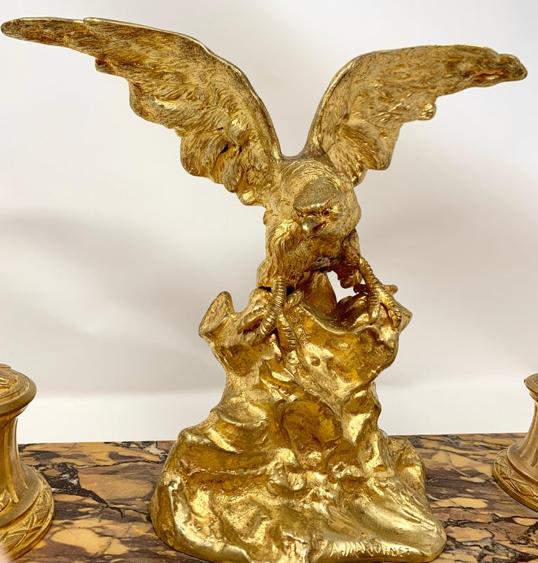 Antique French Gold Bronze and Marble Eagle Inkstand, Circa 1880-1890 For Sale 1