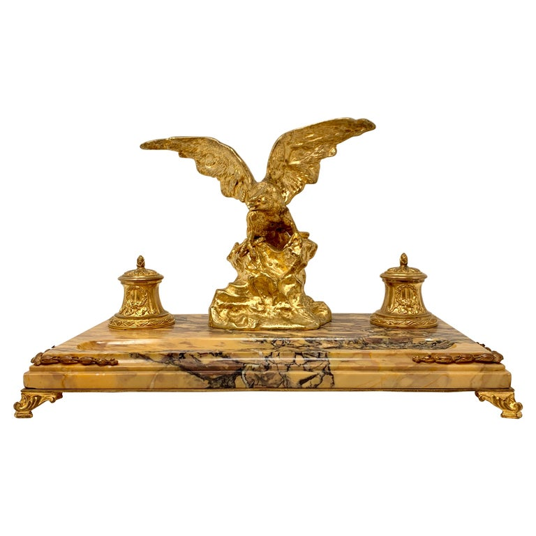 Antique French Gold Bronze and Marble Eagle Inkstand, Circa 1880-1890 For Sale