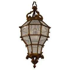 Antique French Gold Bronze Lantern