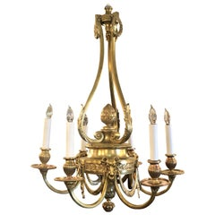 Antique French Gold Bronze Louis XVI Style Chandelier, circa 1870s