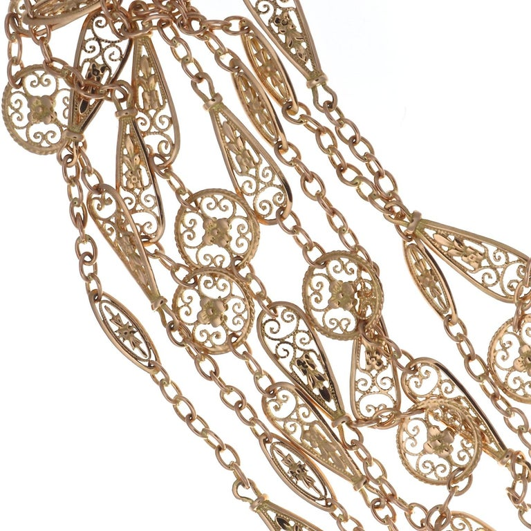 Victorian Antique French Gold Chain Necklace For Sale