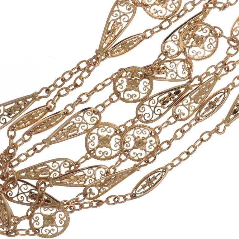 French Cut Antique French Gold Chain Necklace For Sale