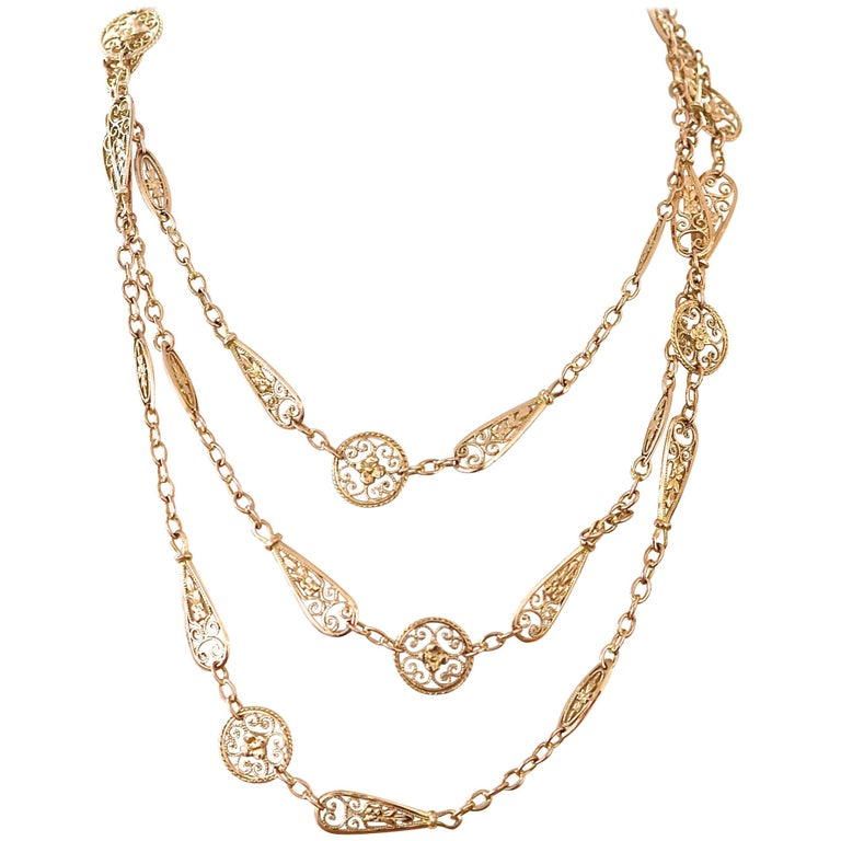 Antique French Gold Chain Necklace For Sale