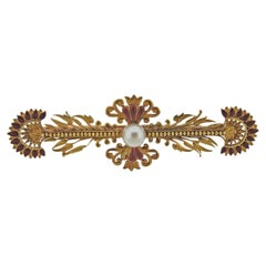 Antique French Gold Enamel Pearl Brooch
