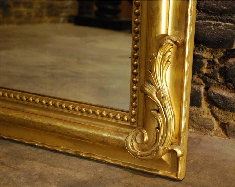 Antique French Gold Gilded Louis Philippe Mirror with Crest For Sale 3
