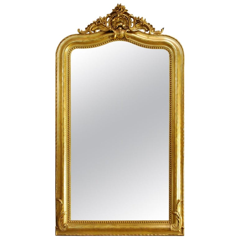 Antique French Gold Gilded Louis Philippe Mirror with Crest For Sale