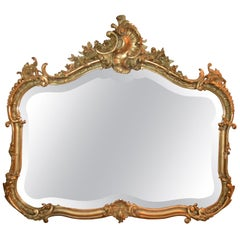 Antique French Gold Leaf Beveled Mirror, circa 1855-1865