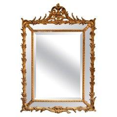 Antique French Gold Leaf Beveled Mirror