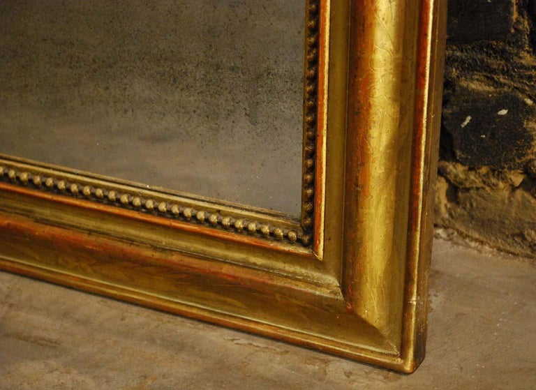 Antique French Gold Leaf Gilded Louis Philippe Mirror For