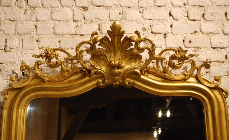 19th Century Antique French Gold Leaf Gilded Louis Philippe Mirror with Crest For Sale