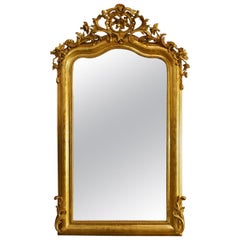 Antique French Gold leaf Gilded Louis Philippe Mirror with Crest