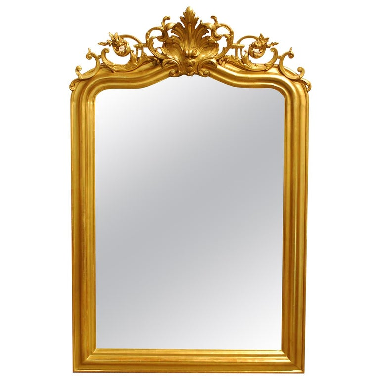 Antique French Gold Leaf Gilded Louis Philippe Mirror with Crest For Sale