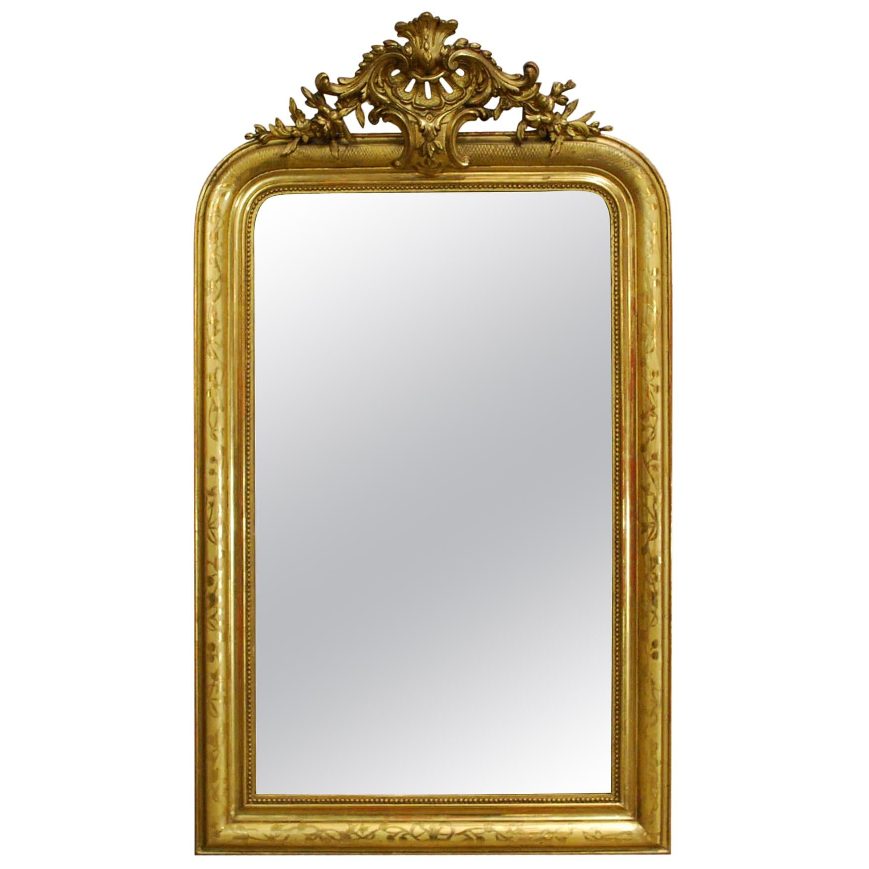 Antique French Gold Leaf Gilt Louis Philippe Mirror with Crest