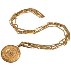 Antique French Gold Victorian Locket Necklace
