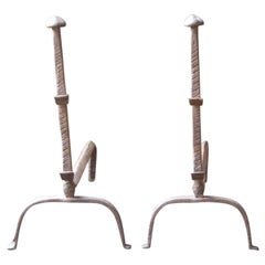 Antique French Gothic Andirons or Firedogs, 17th Century
