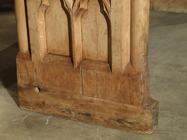 Antique French Gothic Chapel Pew Bench, 19th Century For Sale 5