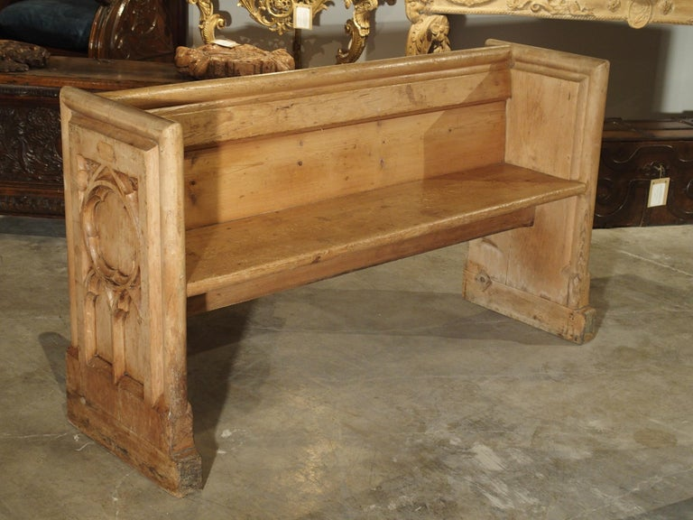 Antique French Gothic Chapel Pew Bench, 19th Century For Sale 6