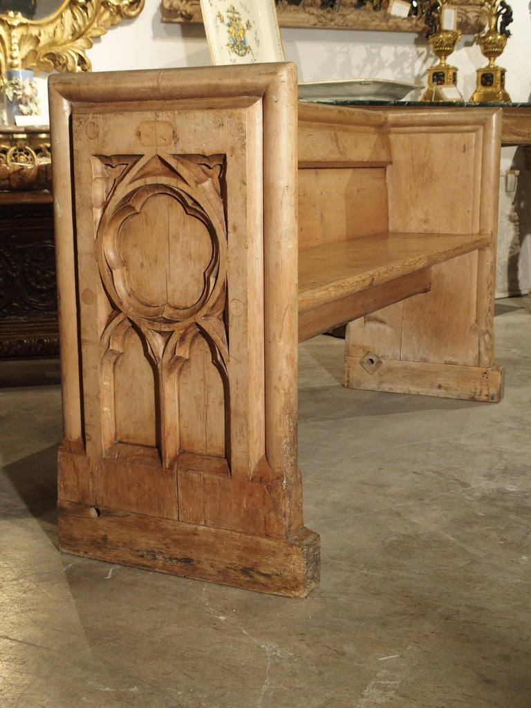 Antique French Gothic Chapel Pew Bench, 19th Century For Sale 7