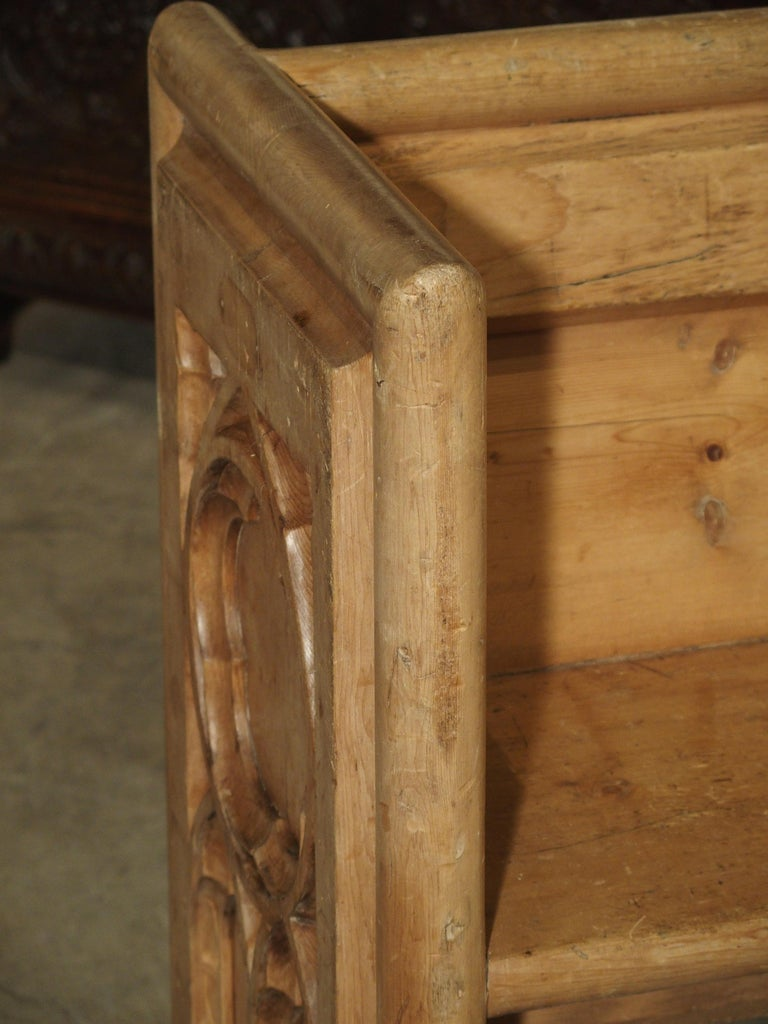 Antique French Gothic Chapel Pew Bench, 19th Century For Sale 10
