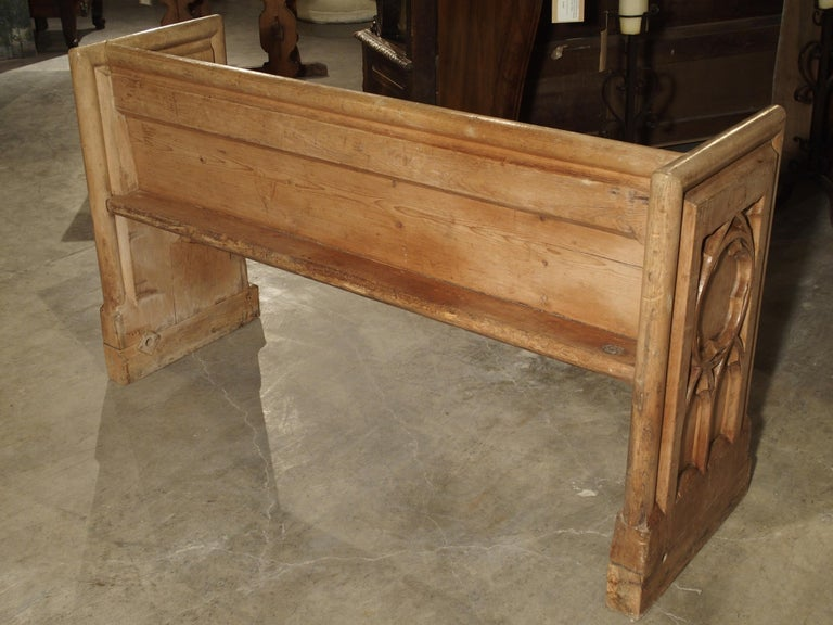 Antique French Gothic Chapel Pew Bench, 19th Century For Sale 14