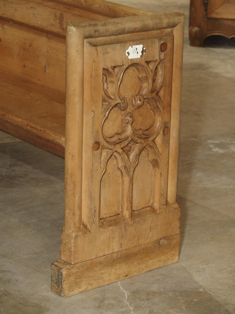 Hand-Carved Antique French Gothic Chapel Pew Bench, 19th Century For Sale