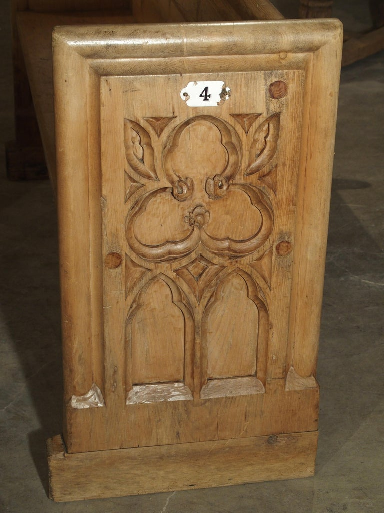 Antique French Gothic Chapel Pew Bench, 19th Century In Good Condition For Sale In Dallas, TX