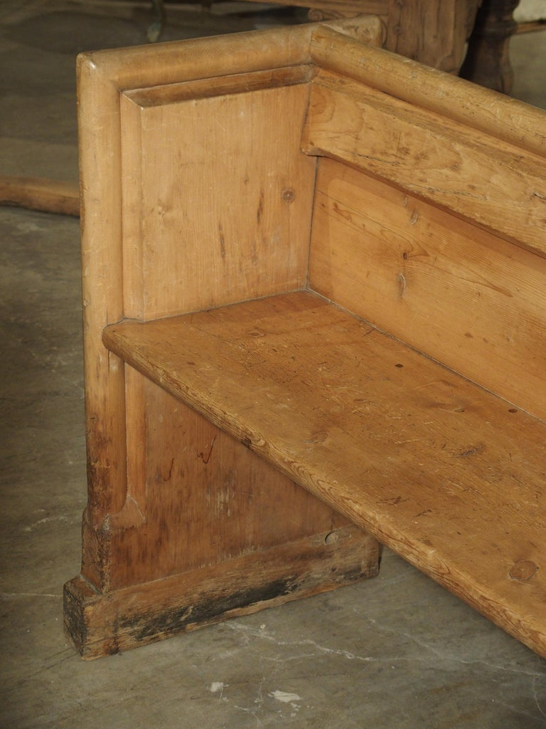 Antique French Gothic Chapel Pew Bench, 19th Century For Sale 1