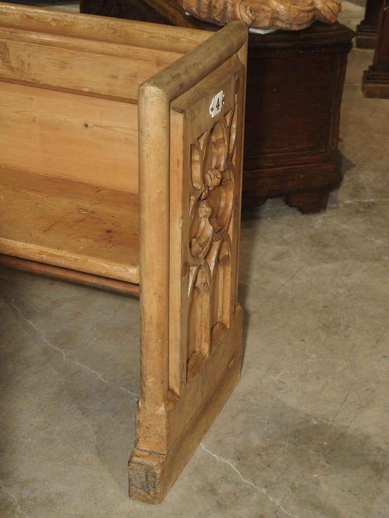 Antique French Gothic Chapel Pew Bench, 19th Century For Sale 2